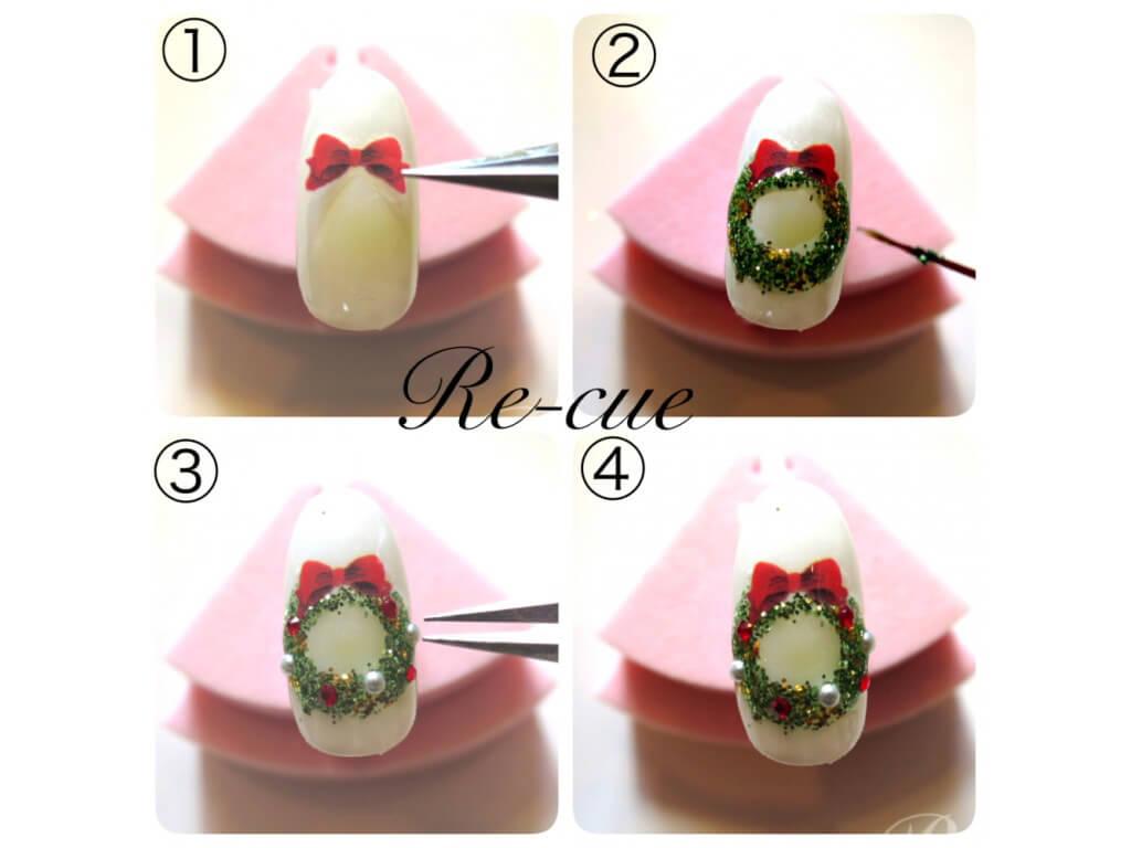赤リボン×緑ラメで作る、クリスマスリースネイルの作り方