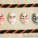 まるで歌舞伎のミニ舞台?歌舞伎の隈取をネイルにしたアート!