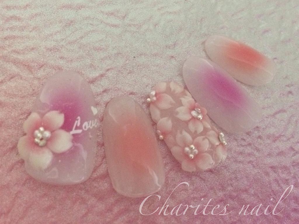 春に人気の桜柄ネイル♪チークネイル×桜のエンボスのデザイン