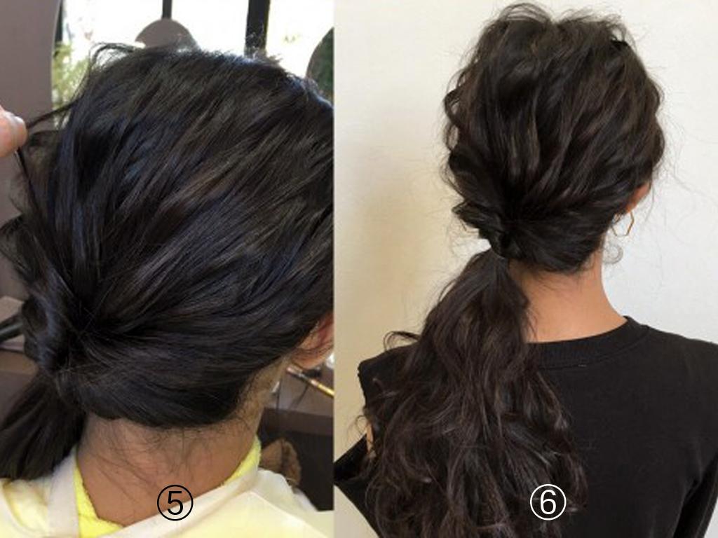>⑤結び目をぎゅっと締めて、髪をつまんで引っ張り出して全体を崩します