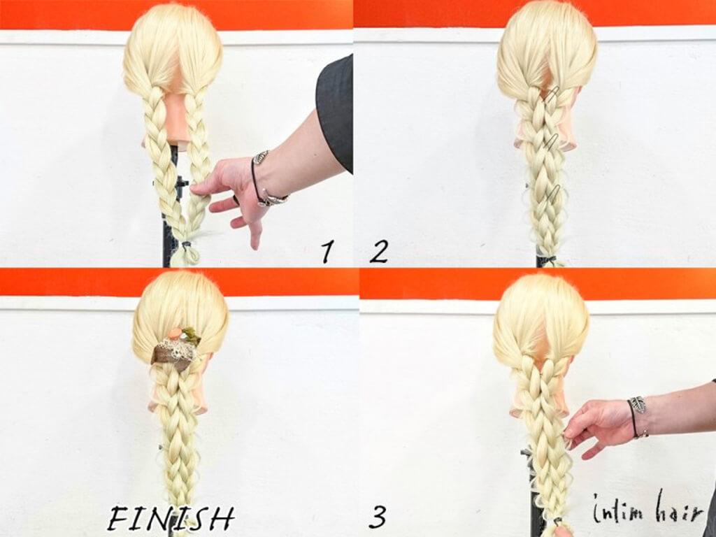 三つ編みで作れる最新ヘアアレンジの手順