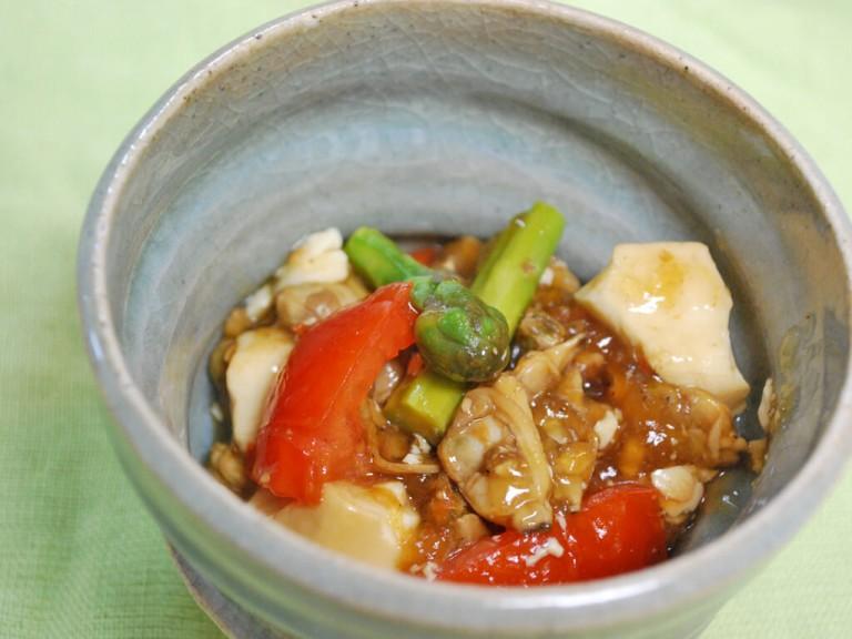 プレママにおすすめ♪アスパラとあさりの豆腐あんかけレシピ