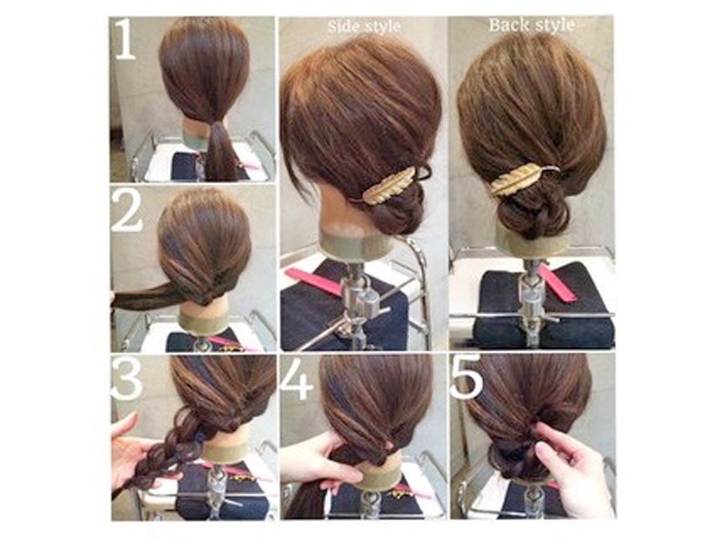 ヨコリンパ×三つ編みで、こなれたまとめ髪スタイル