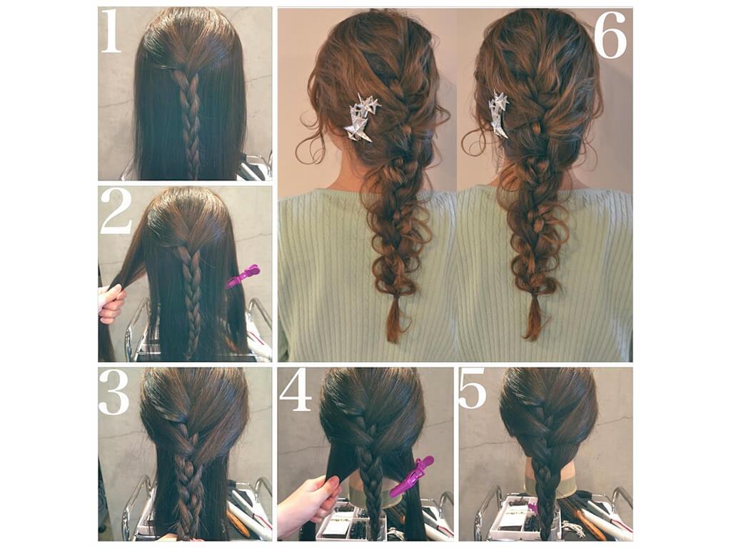 三つ編み3回でかわいいまとめ髪に♪夏のすっきりヘアアレンジ|ますだ