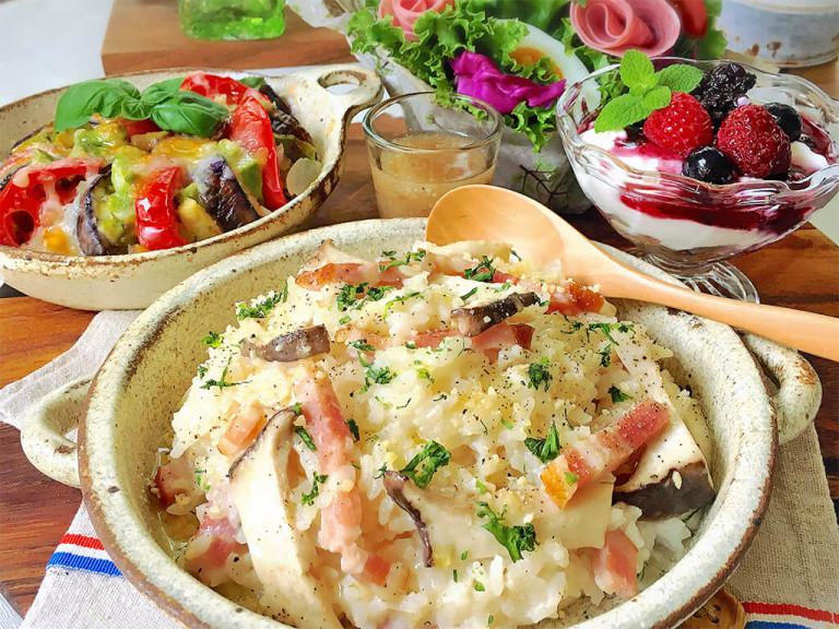 残りごはんで簡単!きのこのチーズリゾット&チーズ焼きのレシピ rie