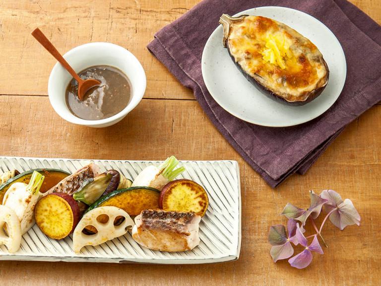 秋の旬食材たっぷり!「鯛と秋野菜のグリル ~アンチョビごまソース~」