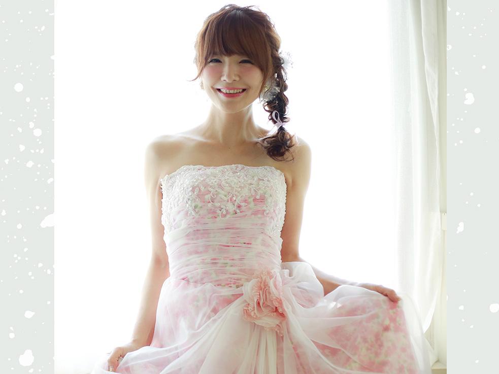 鎖骨下まで髪があればできる、花嫁さんにおすすめのスタイルです!