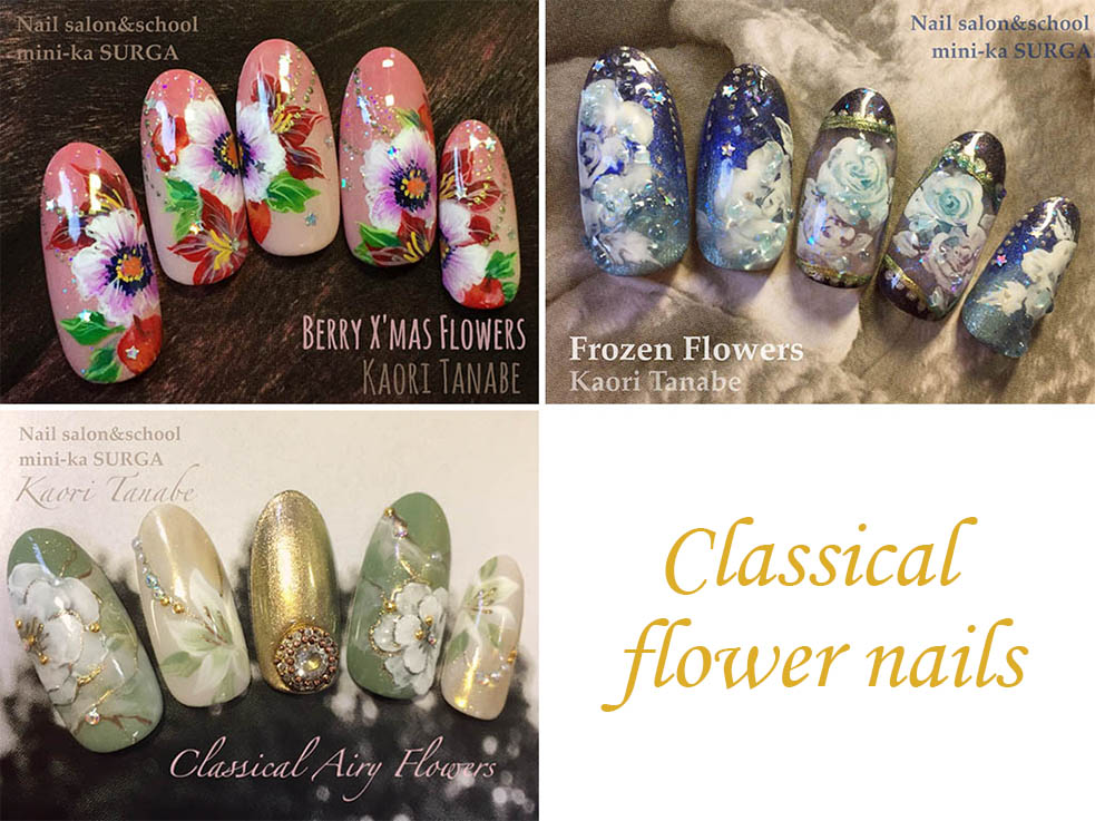 冬のパーティーは「クラッシック×花柄ネイル」で彩る
