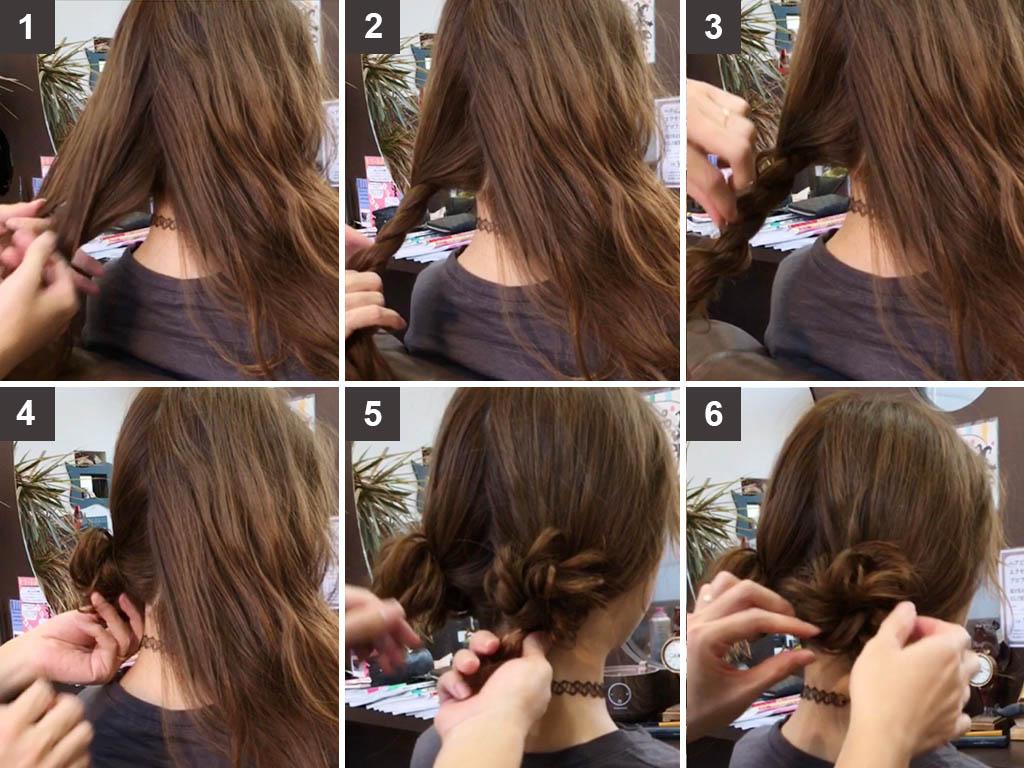 ロープ編みで作るお団子ヘアのヘアアレンジ方法