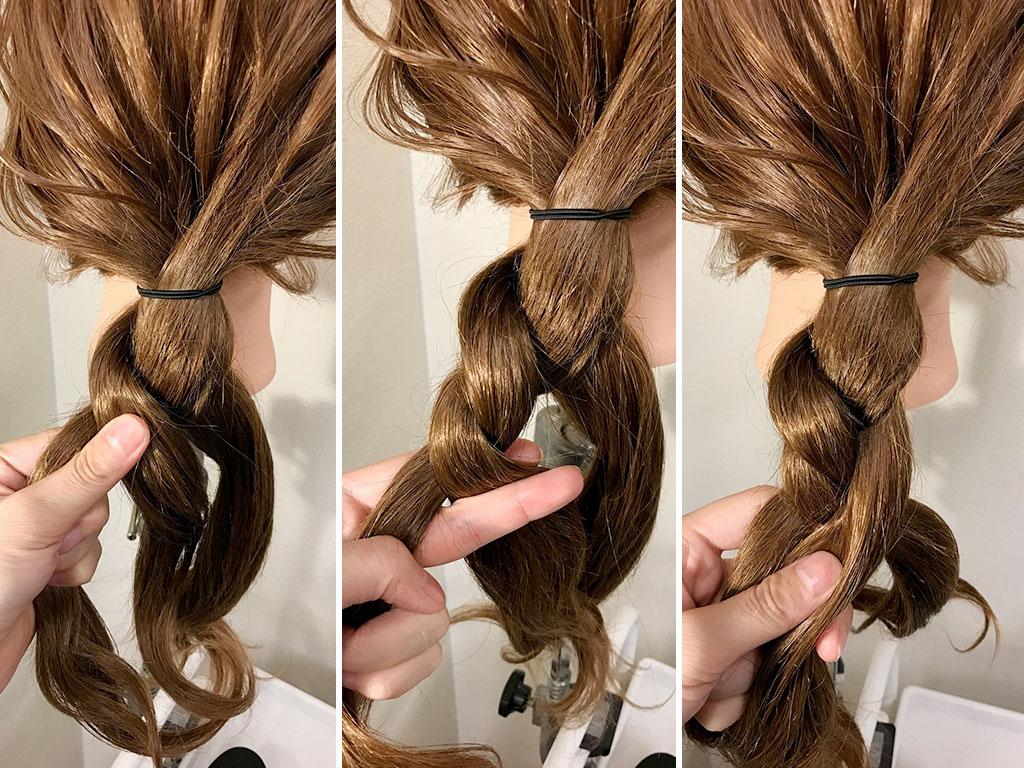 かわいい編み込みダウン!不規則な編み目のツイスリーでヘアアレンジに変化をつけて