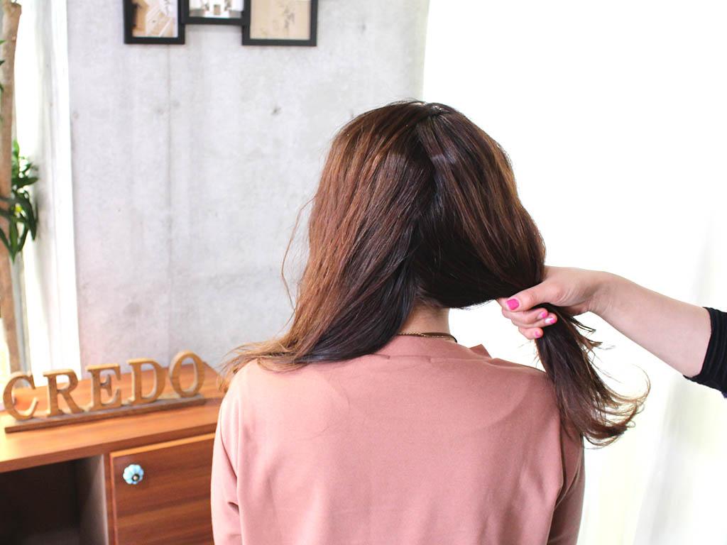 三つ編みツーサイドダウンのお呼ばれヘアアレンジ