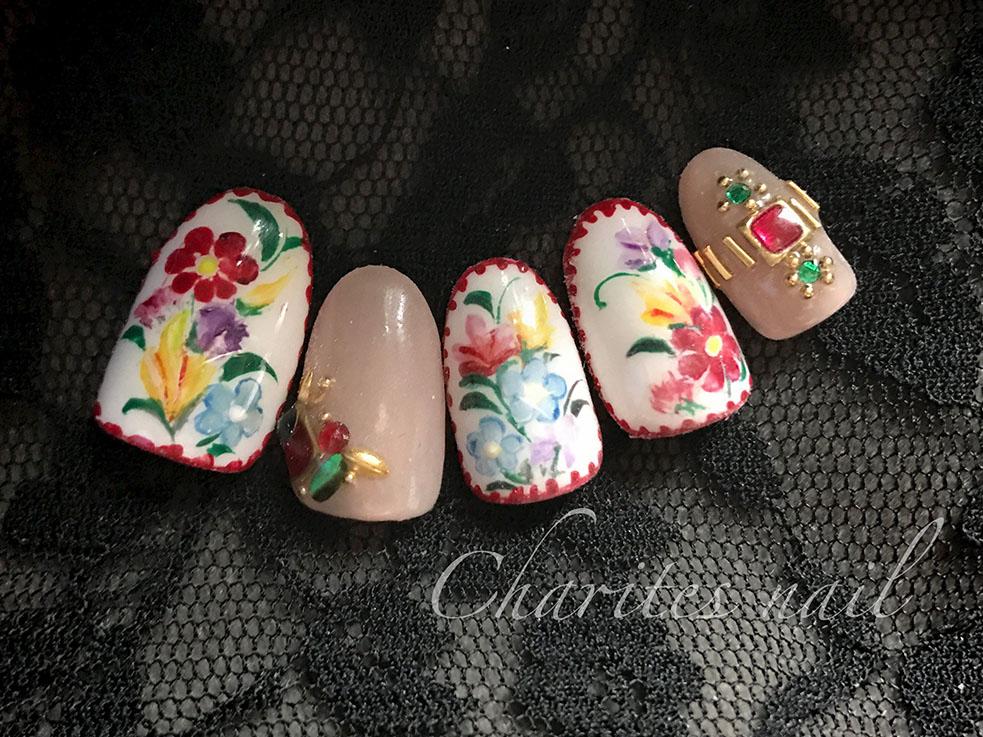 囲みステッチとレトロなお花で、より刺繍っぽいデザインに