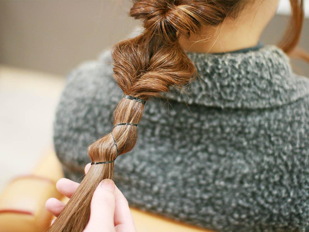 少し不思議なボコボコ編み目のダウンスタイルのやり方