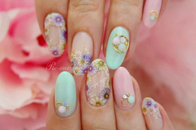 ミルキーパステルと小花で春ネイルを楽しもう