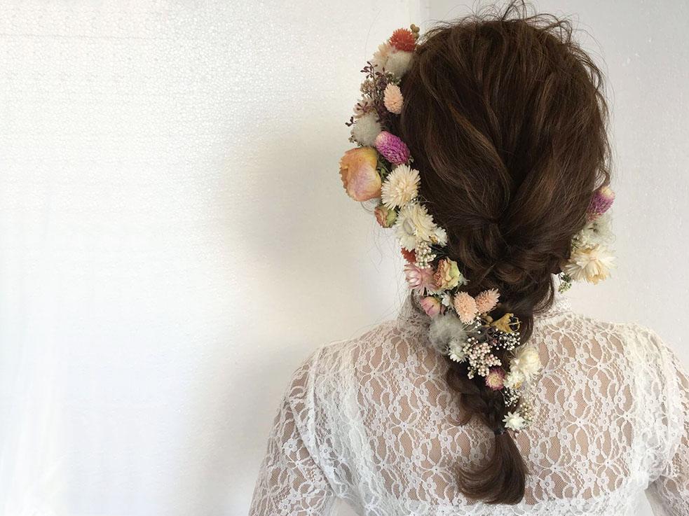 お花髪飾りの使い方③ 花畑ヘア