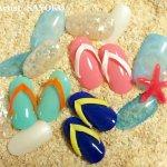 海に行きたくなる!夏を満喫するビーチサンダルを立体的なネイルオブジェで再現!!