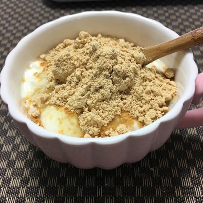 おすすめは、ヨーグルト+きな粉!
