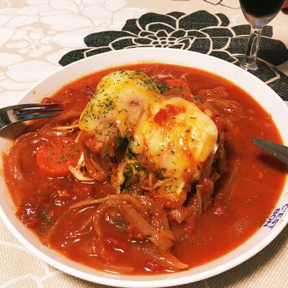 「鶏のトマトチーズ煮込み」材料(3~4人分)